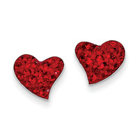 Sterling Silver Red Preciosa Crystal Heart Earrings QE11055