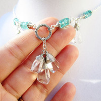 Wire Wrapped Polished Clear Quartz Nuggets & Teal Faceted Czech Glass Dangly Silver Bib Necklace