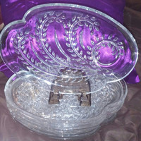 """A Set of Eight Federal Glass """"Homestead"""" Snack Luncheon Plates, Grap Wheat Grass Pattern, Pressed Glass Plates"""
