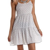 White Combo Aztec Print Open Back Babydoll Dress by Charlotte Russe