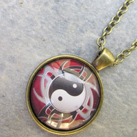 Necklace, Antique Bronze Yin Yang Pendant, Zen Jewelry, Black White Red Charm, Glass Photo Art Pendant Necklace.Harmony, Isle Of Craftin
