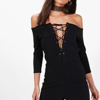 Tall Effie Off The Shoulder Lace Up Playsuit | Boohoo