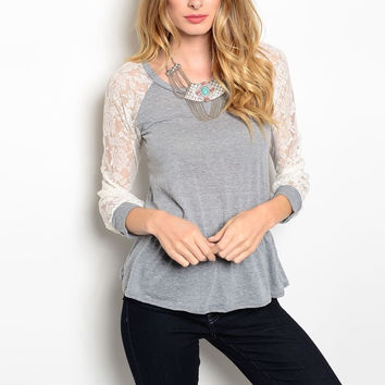 Laced Long Sleeve Peplum Knit Top in Gray & Ivory