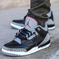 Air Jordan 3 Black Cement Fashion Women Men Casual Sneakers Sport Basketball Shoes