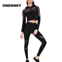 Sports Wear For Women Gym Yoga Sets Fitness Set Gym Workout Sports Wear Mesh Patchwork Sports Suit Woman Running Clothing Slim