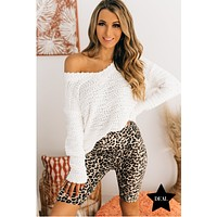From Time To Time V-Neck Popcorn Sweater (Ivory)