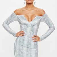 Missguided - Gray Snakeprint Bardot Foldover Bodycon Dress