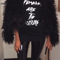 Fashionable Black Faux Fur Coat
