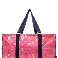 Utility Tote Large Pink Coral & Gold Foil Arrow Print