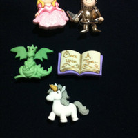 Dragons and Knights Tales Plastic Buttons - Sewing craft supplies