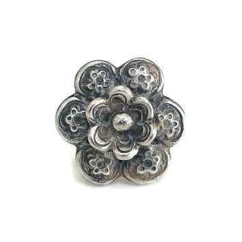 Chinese Export Ring, Sterling Silver, Flower Motif, High Profile, Sterling China, Statement Ring, Vintage Ring, Vintage Jewelry, Size 6