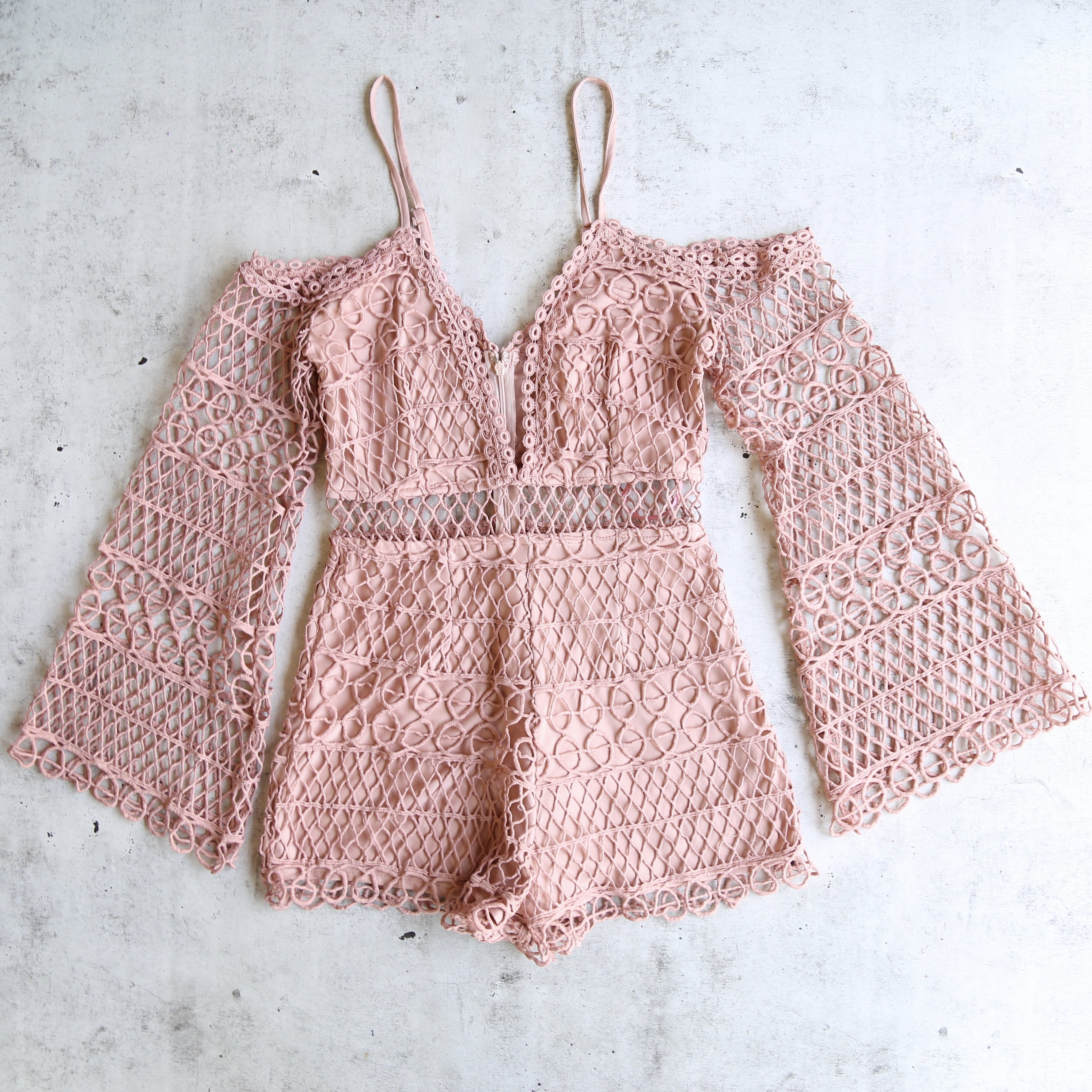 Image of Final Sale - Bold Crochet Overlay Romper - More Colors