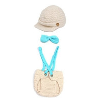 New 100% Handmade Overalls Crochet Cotton thread Baby Beanies Hats Caps Newborn Boy Girl Photography photo Costume Props outfits (Size: 0-6m, Color: Beige & Blue)