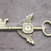 3pcs--Huge Steampunk Key Charms, Antique Bronze Lovely Time Machine Clock Wings Key Charm Pendant 45x76mm