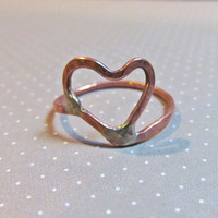 Asymmetrical Heart Ring // Artisan Designed Copper Heart Ring // Valentine's Day Gift // Everyday Open Heart Ring