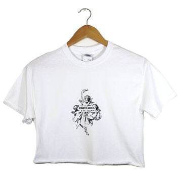 Beware of Angels White Graphic Unisex Cropped Tee