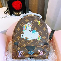 alwayn Louis Vuitton LV Palm Springs Mini Graffiti Backpack  Unicorn Print School Bag Coffee LV Print
