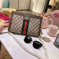 Gucci fashion red and green striped printed casual envelope bag single shoulder cross-body bag lady