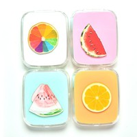 2016 Fruit Contact Lens Case Mini Container Holder With Mirror Tweezers Set Portable Square Contact Lens Storage Box 4 Styles