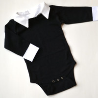 Onesuit Tux, Baby Tuxedo Shirt, Black and White Baby Boy Onesuit, Baby Tux Shirt, Collared Bodysuit, Black and White