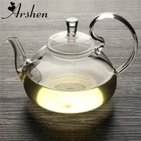 Arshen Elegant Flower Coffee Glass Tea Pot Chinese Glass Teapots Heat Resistant Glass Teapots Gongfu Tea Maker With Tea Filter