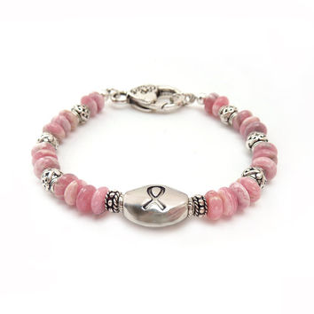 Breast Cancer Awareness Bracelet - Pink Rhodochrosite Stones - Silver Pewter Ribbon Bead - Charity Donation