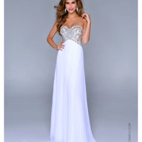 (PRE-ORDER) Nina Canacci 2014 Prom Dresses - White Gold Pleated Chiffon & Beaded Sweetheart Prom Gown