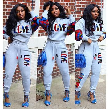 LOVE MOSCHINO women color sports two piece set