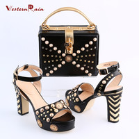 Women Shoes High Heel Sapato Feminino Italian Shoe With Matching Bag With Alloy Lady Sandal And To Match Set Hot Sale Sets