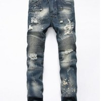 VXO  NEW Men Biker jeans ripped denim slim motorcycle pant Men classic rap hip hop skinny casual winter stretch jeans
