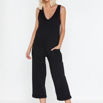 V Like to Party Relaxed Cropped Jumpsuit
