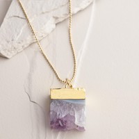 Gold Amethyst and Agate Pendant Necklace