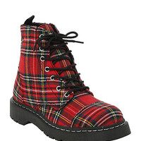 Anarchic By T.U.K. Red Plaid Combat Boot