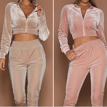 Explosion style hot sale zipper sweatshirt tie foot sports pants two-piece women
