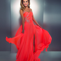 Mac Duggal Prom 2013- Neon Coral Gown With Embellishments - Unique Vintage - Prom dresses, retro dresses, retro swimsuits.
