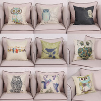 new arrival cheap price 45cm*45cm owl pattern cushion cover cotton linen home decor case throw pillow with invisible zipper