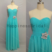 Sweetheart chiffon dress with flower,fashion prom dresses,hot sales dresses,bridesmaid dress,chiffon prom dress,formal evening dress 2014