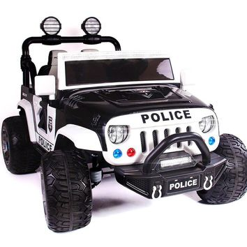 Kids Police Truck Explorer 12V Ride-On SUV Two-Seater with R/C Remote MP3 LED Lights