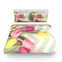 """Catherine McDonald """"Tulips and Chevrons"""" Twin Fleece Duvet Cover - Outlet Item"""