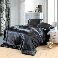 Silk Soft Satin AUS Size Quilt Cover Sheet Set Flat,Fitted,Pillowcases