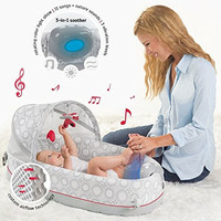 Baby Portable Travel Bed Crib Backpack 3-in-1 w/ Lights, Music, Vibration-Converts to Backpack