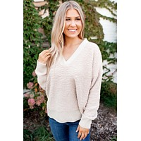 Keepin' Cozy Popcorn Sweater (Taupe)FINAL SALE