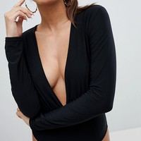 Lasula Plunge Front Jersey Body at asos.com