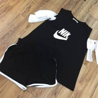 """Nike"" Women Casual Letter Multicolor Strapless Short Sleeve Shorts Set Two-Piece Sportswear"