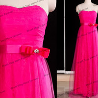 Sweetheart Floral Lace Sheer Fuchsia Strapless Bow Belt Tulle Floor Length Long Evening Gown,gown ball,evening dress,prom dress for girl