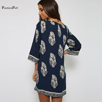 Vintage printed party mini dress