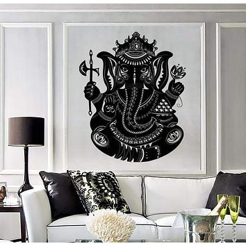 Large Wall Vinyl Sticker Indian Deity God Ganesha Head Elephant Unique Gift (z4547)