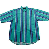 Vintage 90s Teal/Blue Striped Button Up Shirt Mens Size Medium