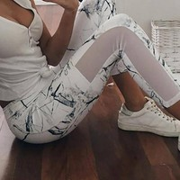 White Patchwork Grenadine High Waisted Sports Yoga Workout Nine's Legging