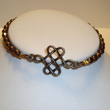 Celtic Bronze Design Focal and Bronze Beaded Stacking Bracelet  - BOHO Design - Knot Design - Celtic Bracelet - Antique Gold Celtic Knot